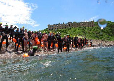 «Побег» с острова Скрыплева устроили 67 пловцов